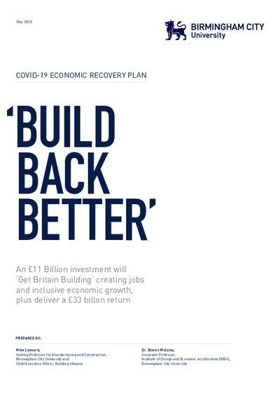 Constrction Industry Recovery Plan May 2020